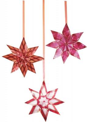 Weihnachtssterne aus Bändern