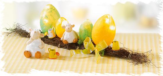 Leuchtende Eier mit Faserseide