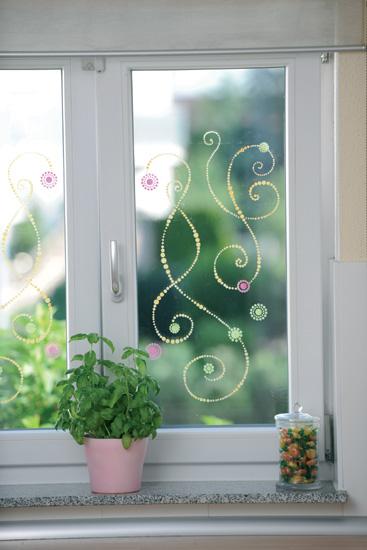 Fenster mit einem Glas-Tattoo