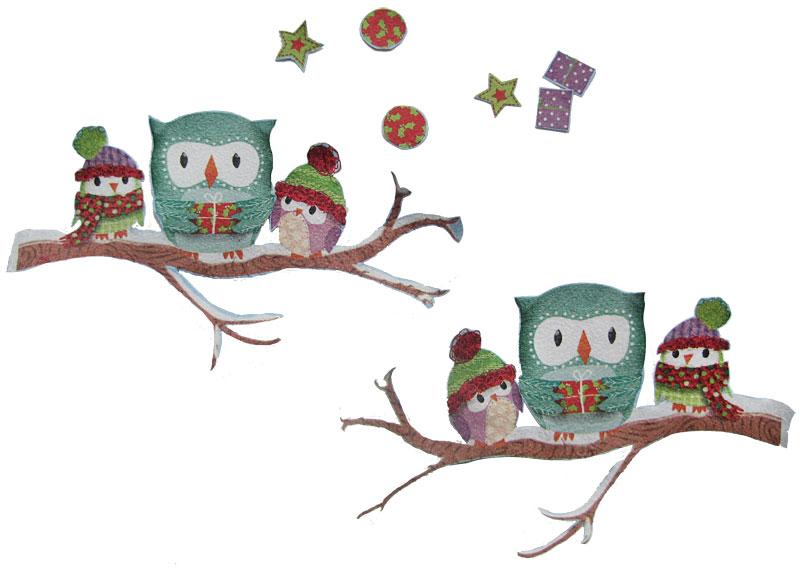Winterliches Vogelhaus mit Eulen in Prägetechnik Schritt 2