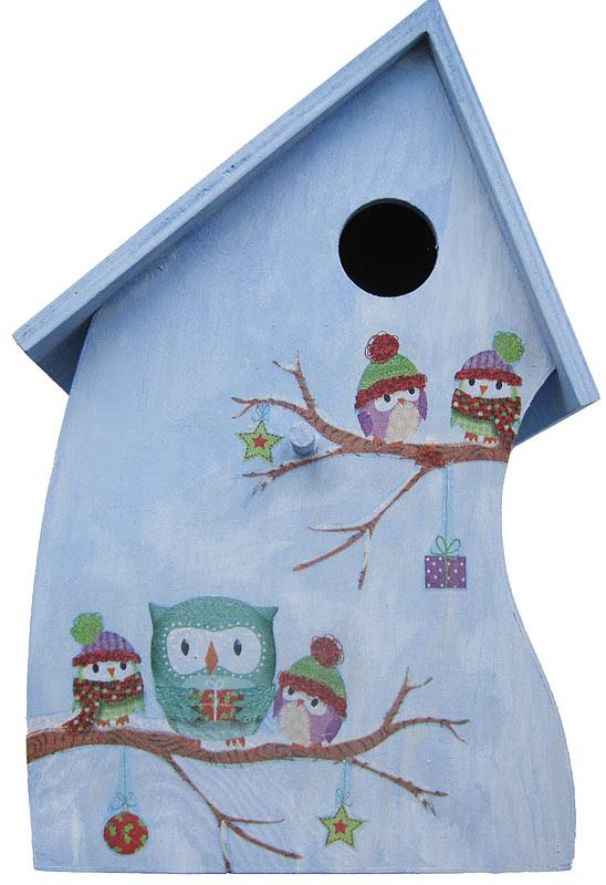 Winterliches Vogelhaus mit Eulen in Prägetechnik Schritt 3