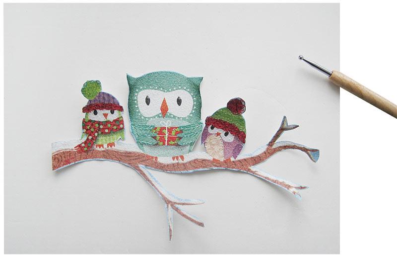 Winterliches Vogelhaus mit Eulen in Prägetechnik Schritt 4