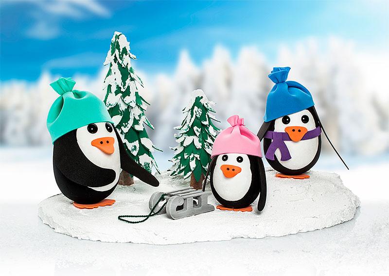 deko anleitung s e pinguine aus styropor eiern basteln. Black Bedroom Furniture Sets. Home Design Ideas