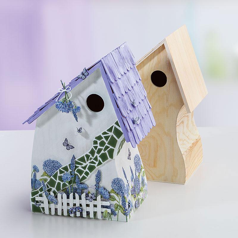 bastelanleitung vogelhaus provence mit mosaik steinen. Black Bedroom Furniture Sets. Home Design Ideas