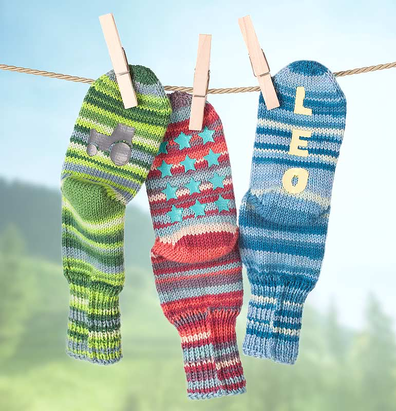Sockenbremse auf selbst gestrickte Socken auftragen