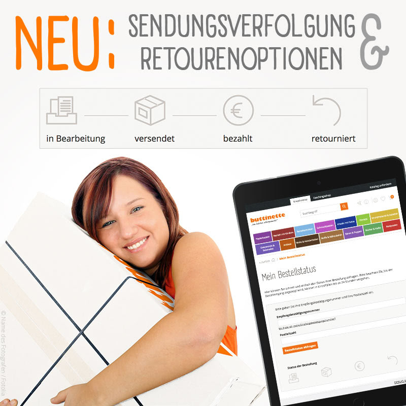 Neue Funktionen im buttinette Shop - Sendungsverfolgung und Retourenoption