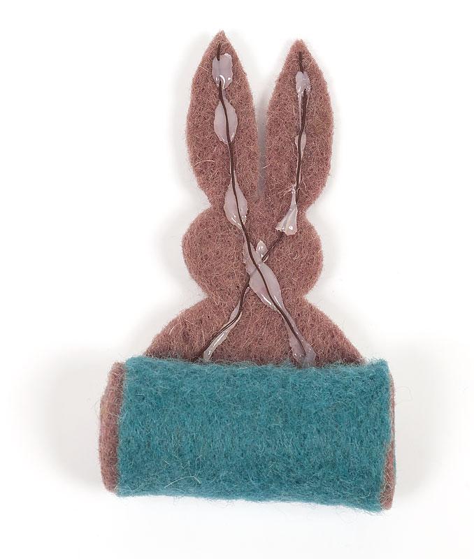 Filzband Hasen zu Ostern basteln - Draht einkleben