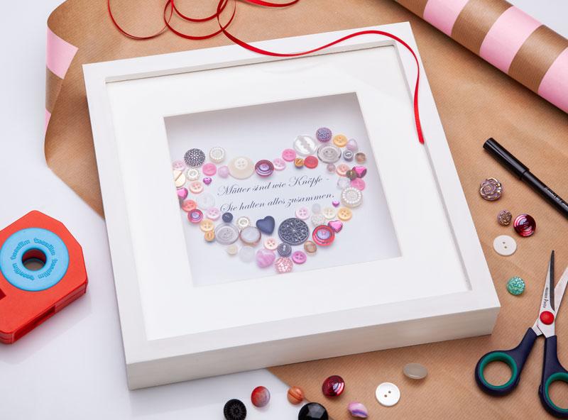 Muttertag Geschenk Knöpfebild im 3D Rahmen