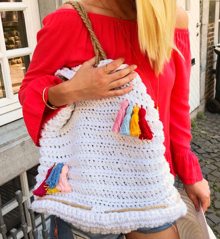 Strandtasche mit Tasseln häkeln mit Helenas Handarbeit