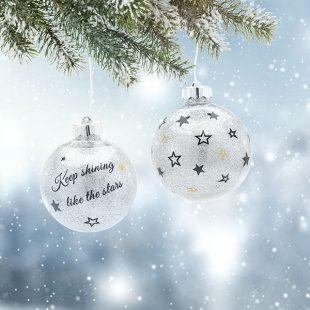 Weihnachtskugeln mit Beleuchtung und Glitzer basteln