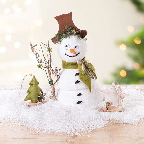 Schneemann aus Gips basteln
