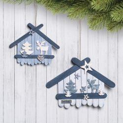 Weihnachtsdeko basteln - Häuser aus Holzstäbchen