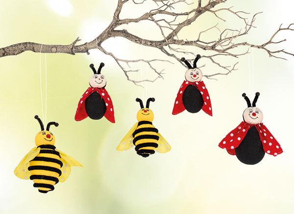 Bienen und Marienkäfer basteln