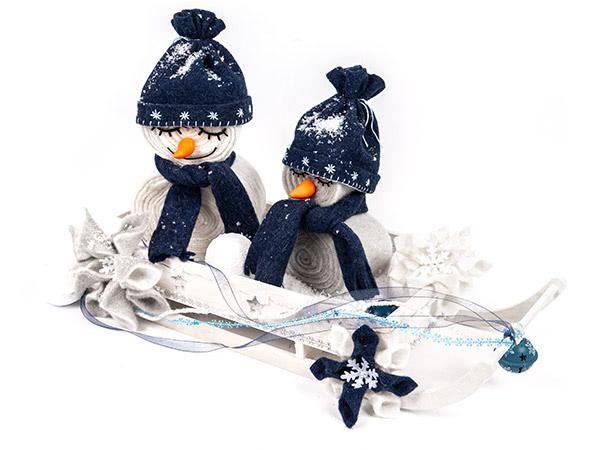 Schneemänner aus Filzbändern basteln - Schritt 13