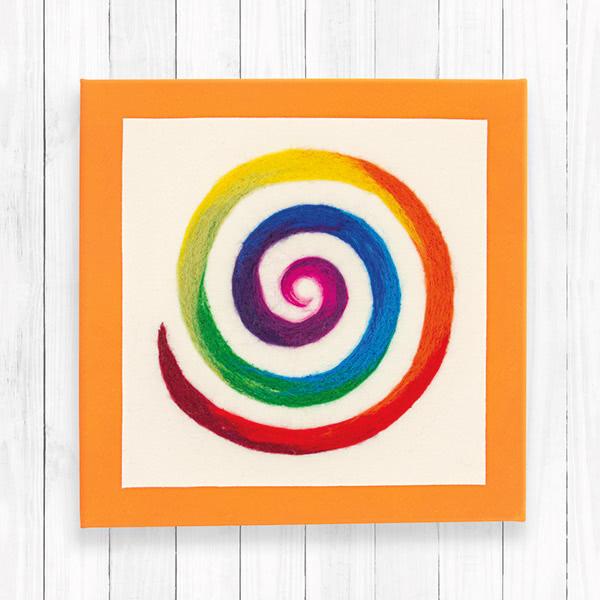 Regenbogenspirale auf Keilrahmen basteln