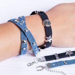 Jeans-Armbänder basteln
