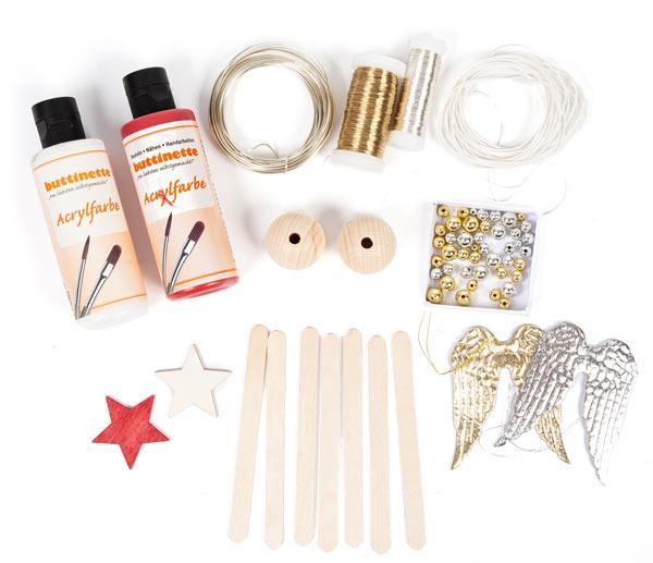 Weihnachtsdeko aus Holzstäbchen basteln - Schritt 1