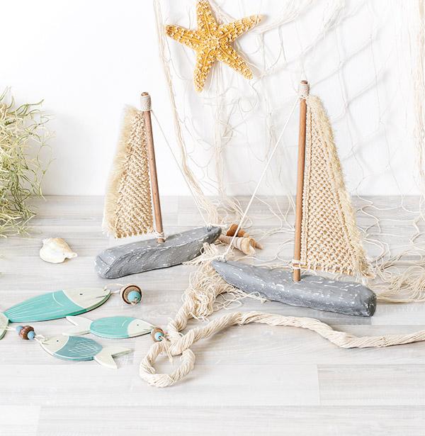 Segelboot mit Makramee-Segel basteln